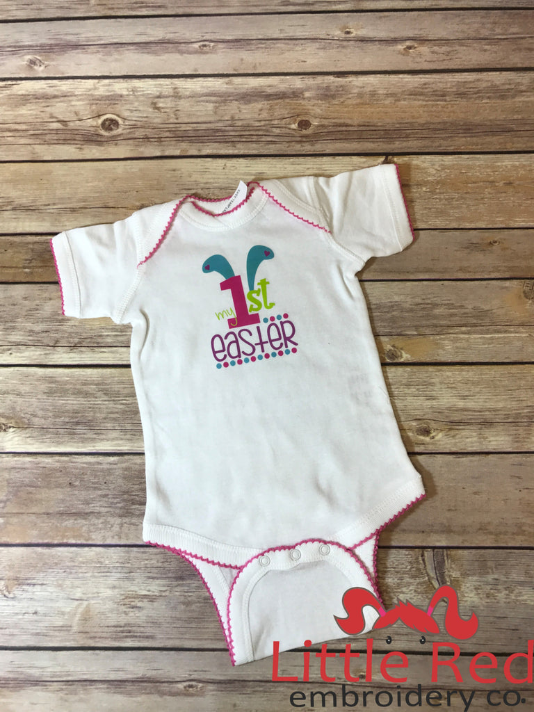 My 1st Easter White/Hot Pink Bodysuit