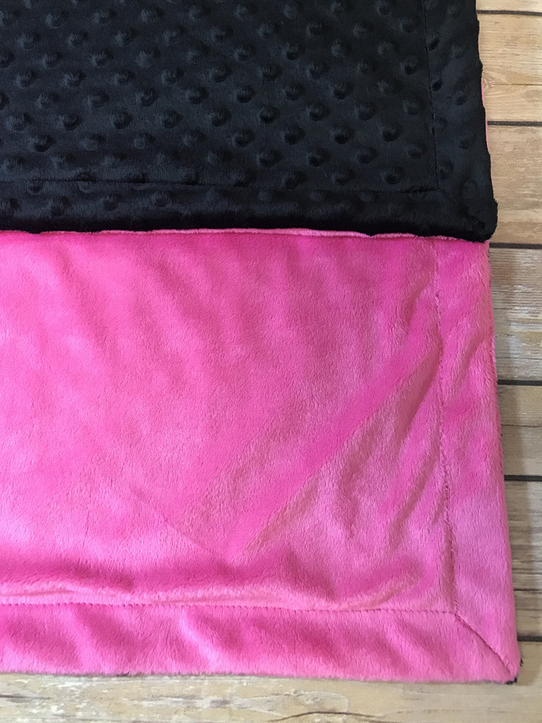 Hot Pink Minky Smooth & Black Minky Dot Blanket