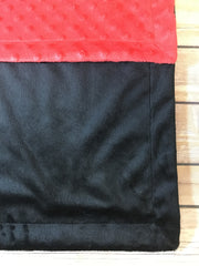 Black Minky Smooth & Red Minky Dot Blanket
