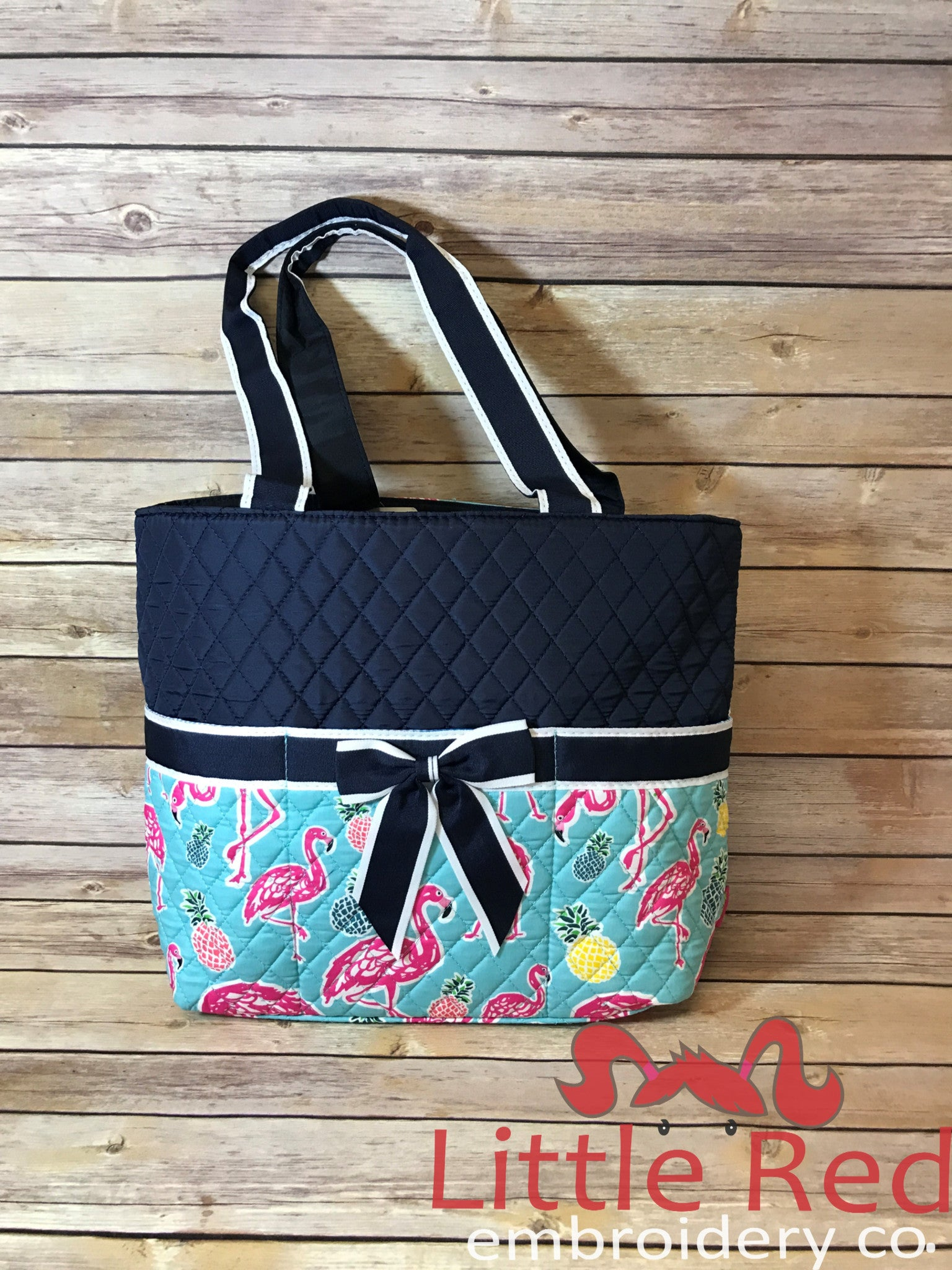Navy Flamingo Print Quilted Diaper Bag