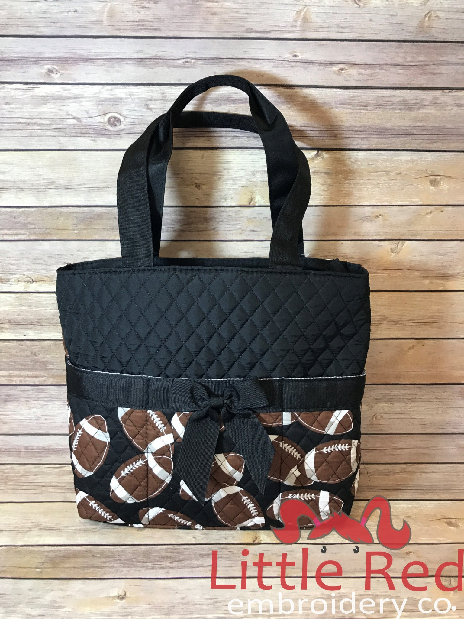Black & Football Print Quilted Diaper Bag