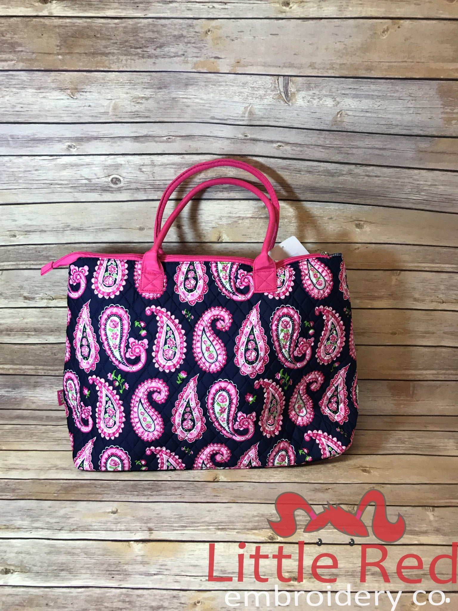 Pink Paisley Print Large Shoulder Tote Bag