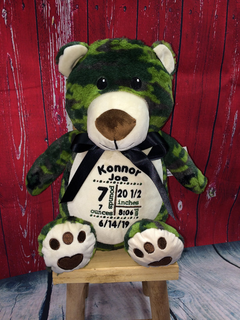 Green Camouflage Bear Stuffie with Custom Embroidery