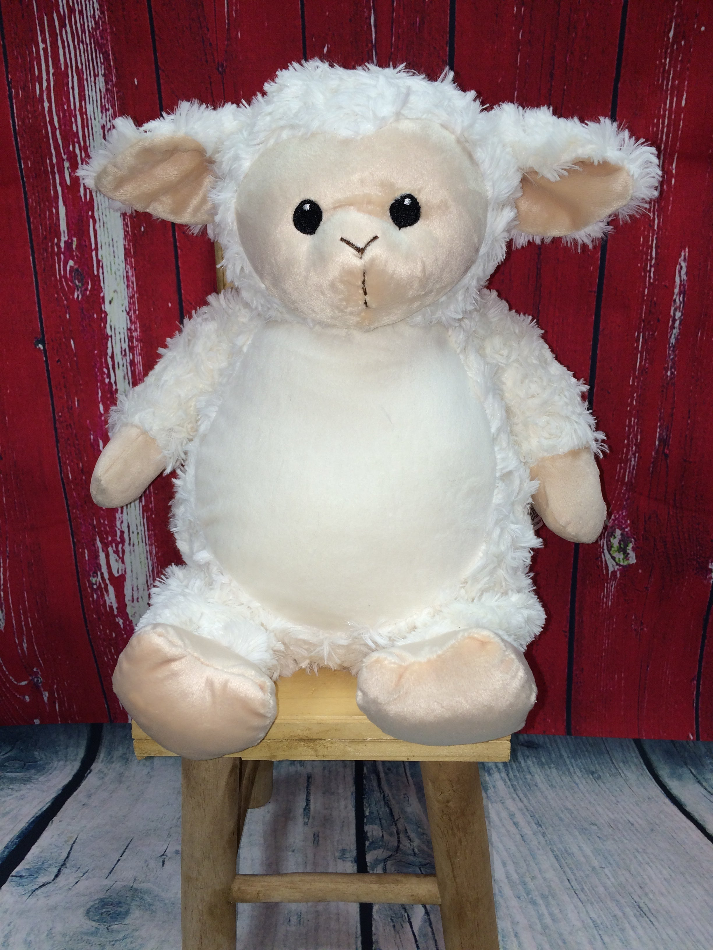 White Lamb Stuffie from Little Elska with Custom Embroidery