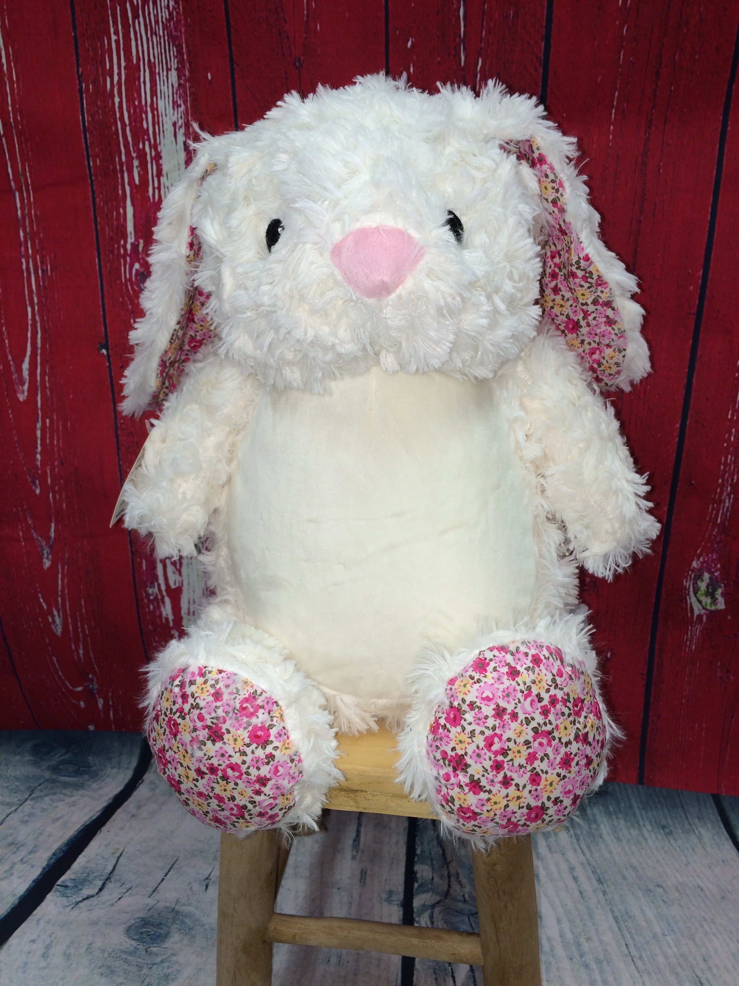 White Bunny with Pink Floral Accents Stuffie with Custom Embroidery