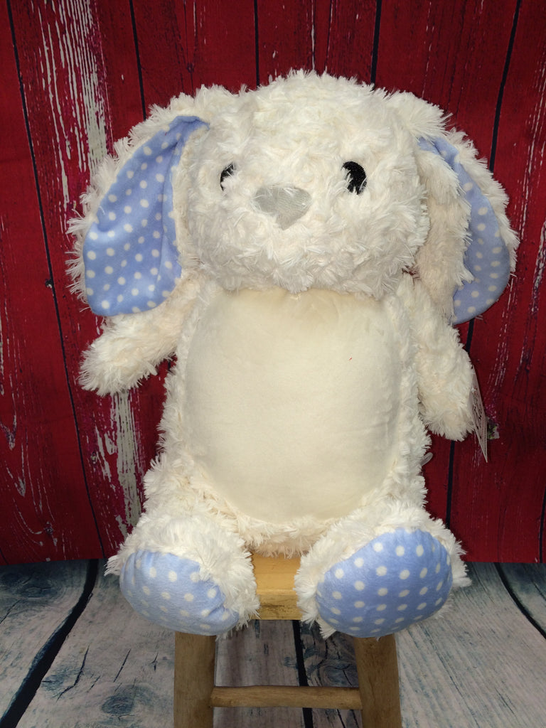 White Bunny with Blue Polka Dot Accents Stuffie with Custom Embroidery