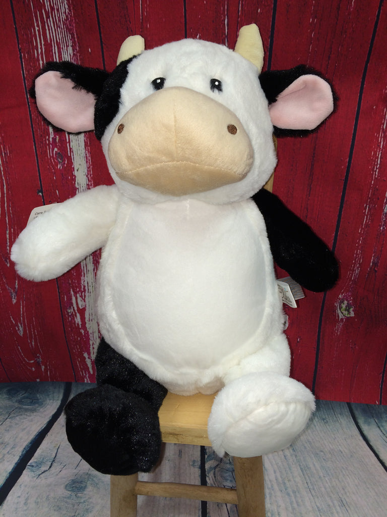 White & Black Cow Stuffie from Little Elska with Custom Embroidery