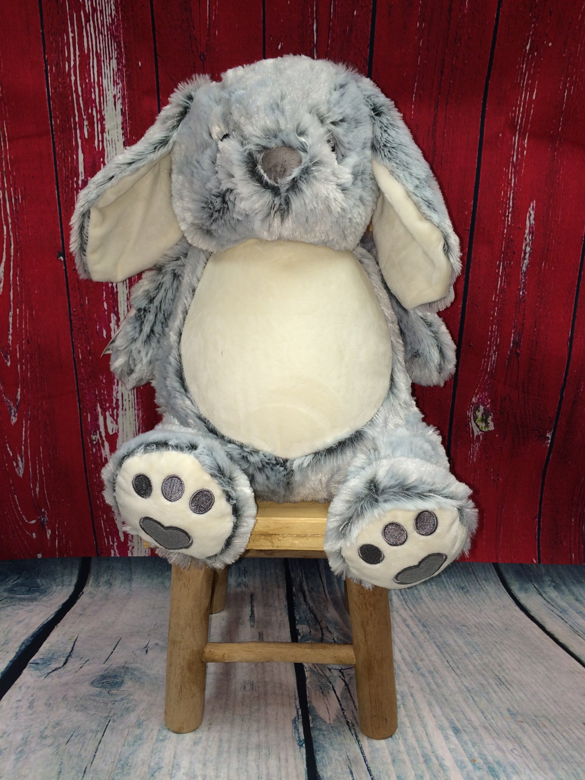Grey Bunny Stuffie from Little Elska with Custom Embroidery
