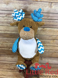 Cubbies™ Harlequin Blue Deer Stuffie with Custom Embroidery