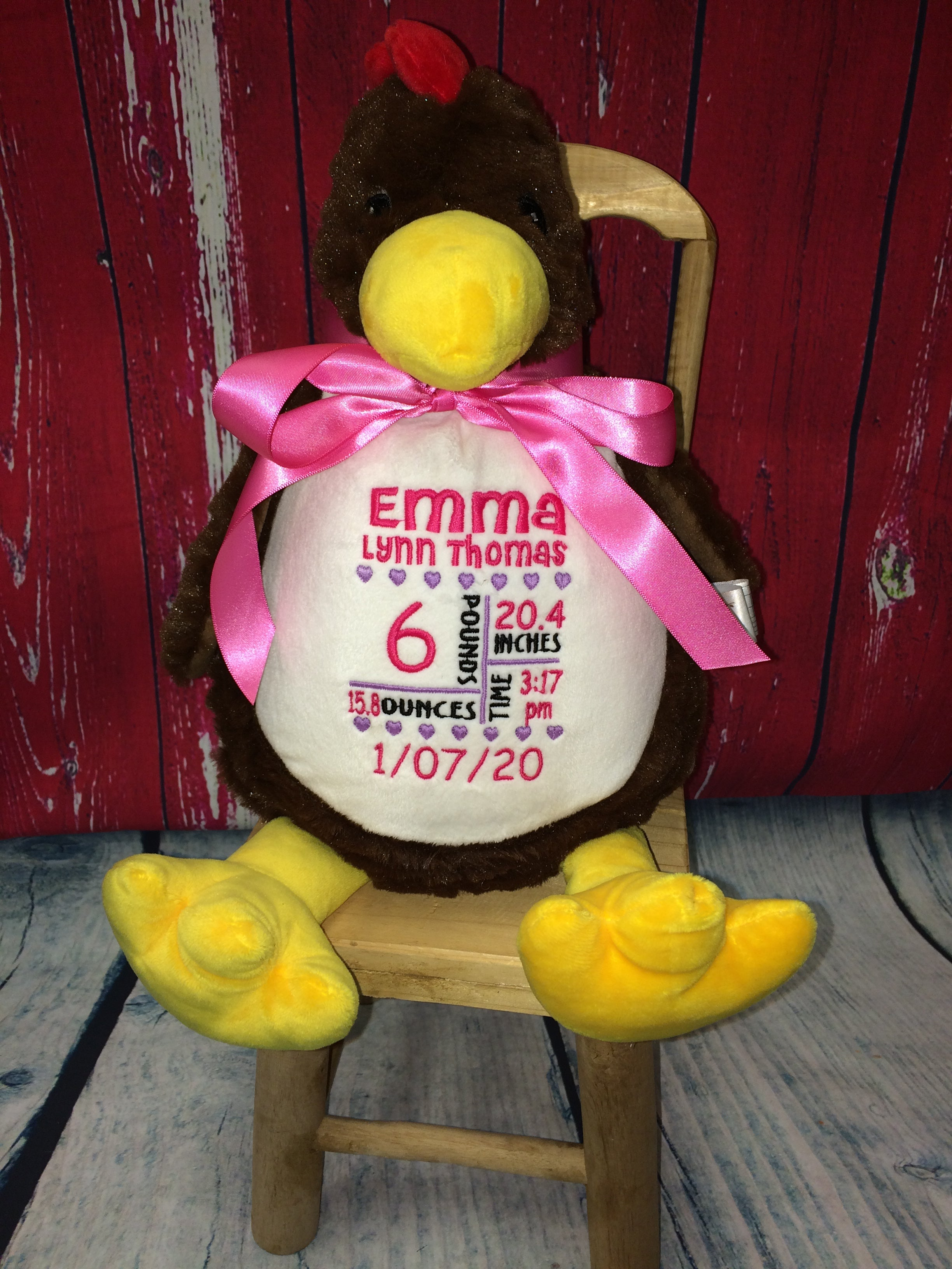 Brown Chicken Stuffie from Little Elska with Custom Embroidery
