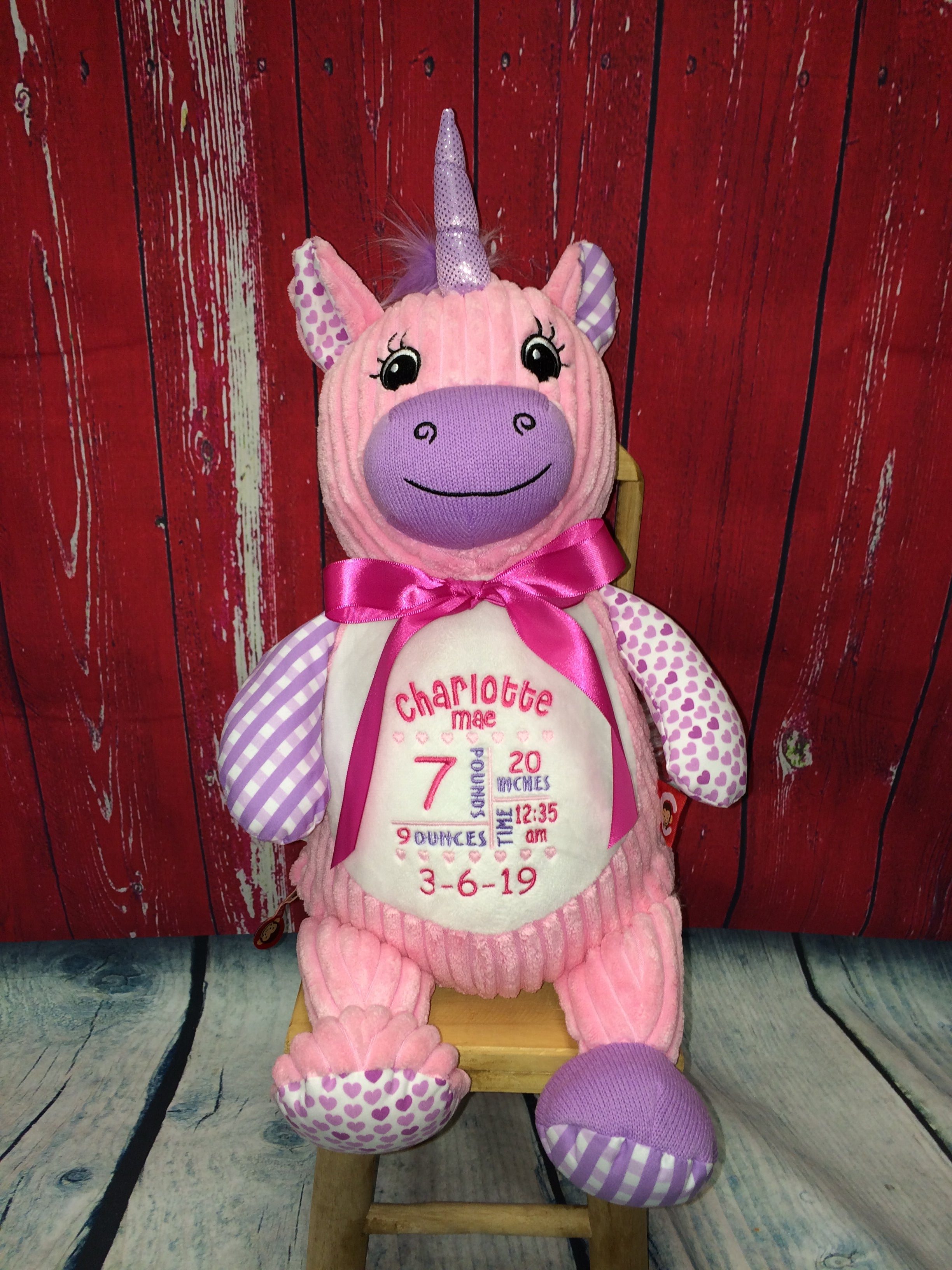 Cubbies™ Harlequin Pink Unicorn Stuffie with Custom Embroidery