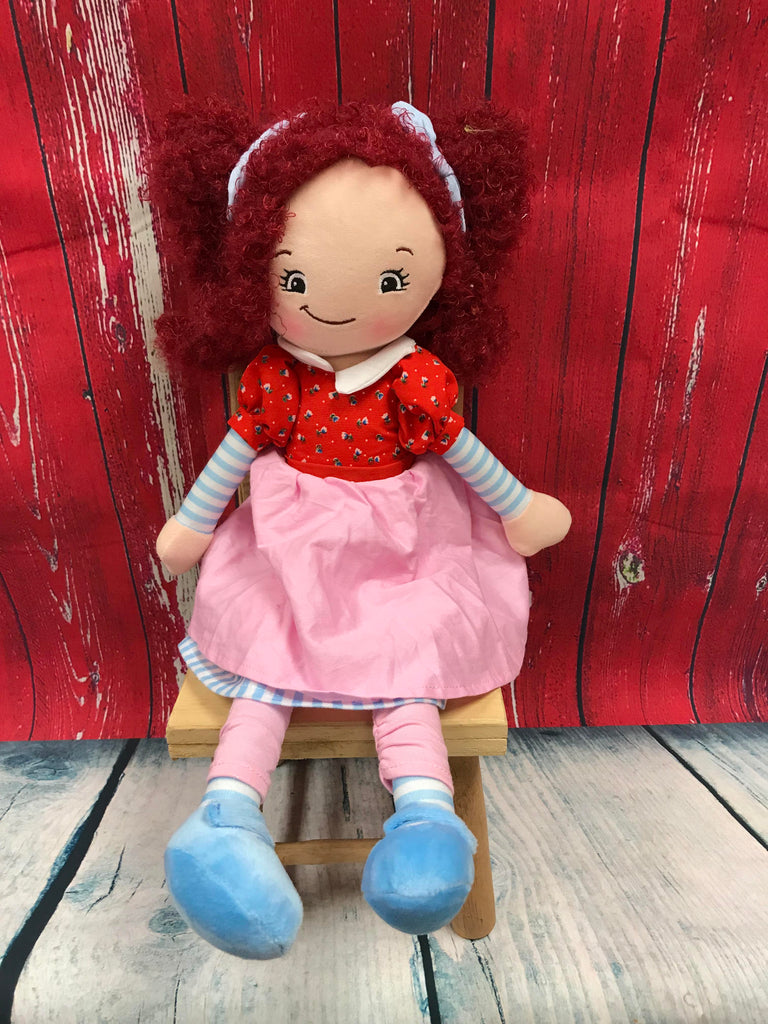Cubbies Rag Doll with Raspberry Hair - custom embroidered!