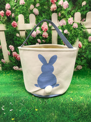 Canvas Blue Bunny Bottom Easter Bucket - custom embroidered!