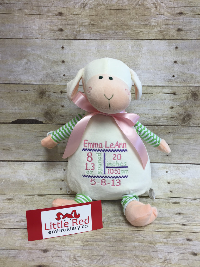 Cubbies™ Pastel Collection Lamb Stuffie with Custom Embroidery