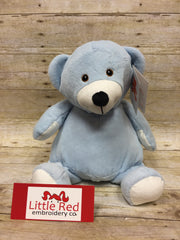 Embroider Buddy Blue Bear Stuffie with Custom Embroidery