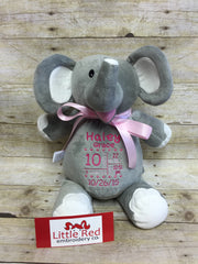 Cubbies™ Grey & White Elephant Stuffie with Custom Embroidery