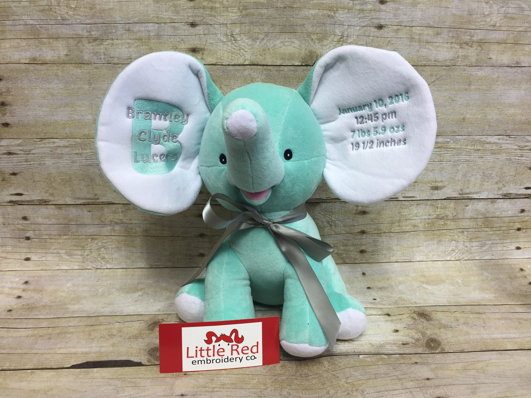 Cubbies™ Mint Green Dumble Elephant With Custom Embroidery
