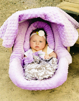 Carseat Canopy™ Belle Whole Caboodle Infant Car Seat Kit - custom personalized! Includes canopy, blanket, pillow, slipcover, and sunshade.