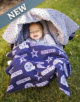 Carseat Canopy™ NFL Dallas Cowboys Whole Caboodle Infant Car Seat Kit - custom personalized! Canopy, blanket, pillow, slipcover, & sunshade.