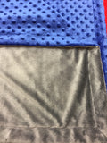 Grey Minky Smooth & Royal Blue Minky Dot Blanket