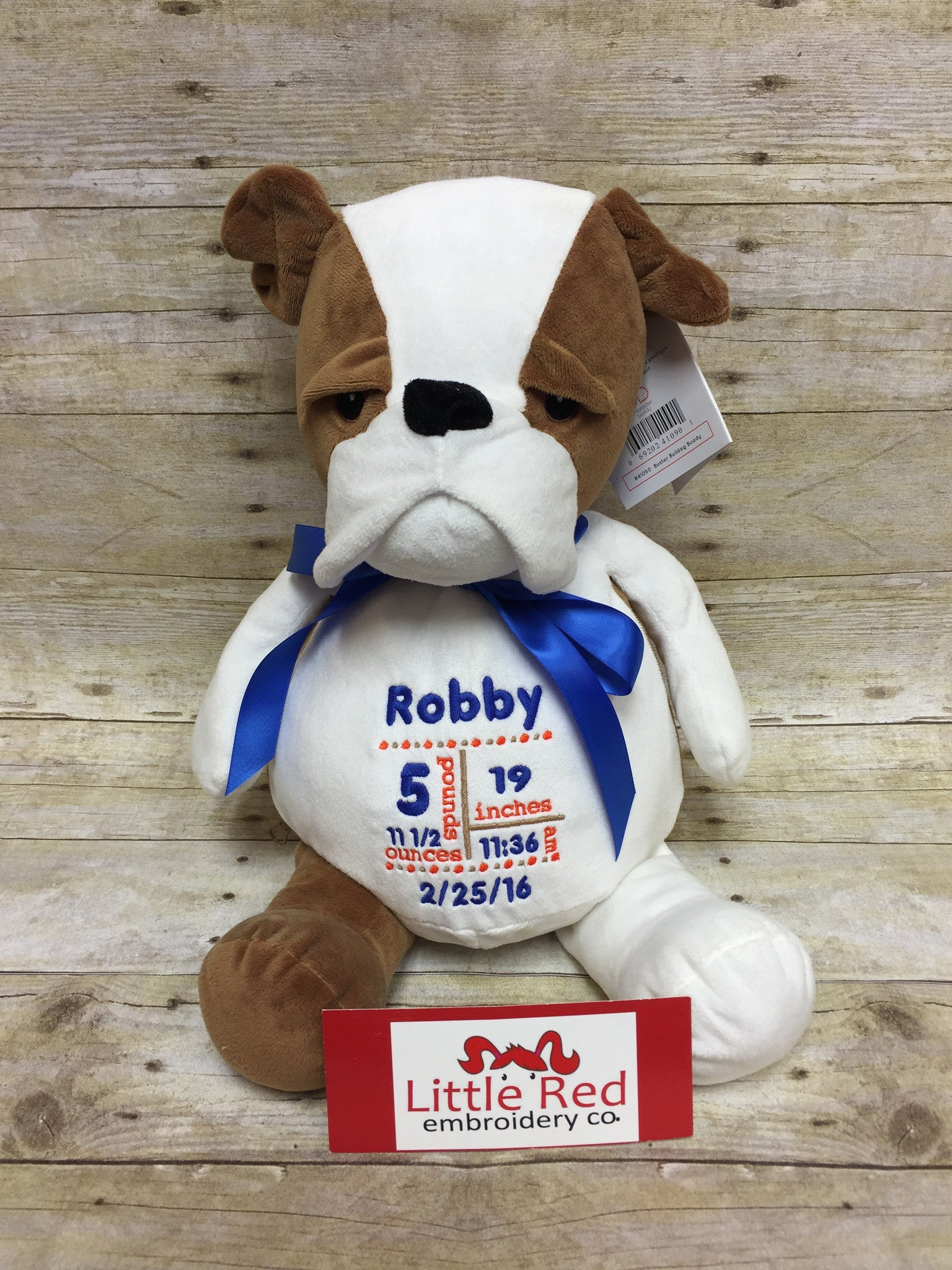 Embroider Buddy Bulldog Stuffie with Custom Embroidery