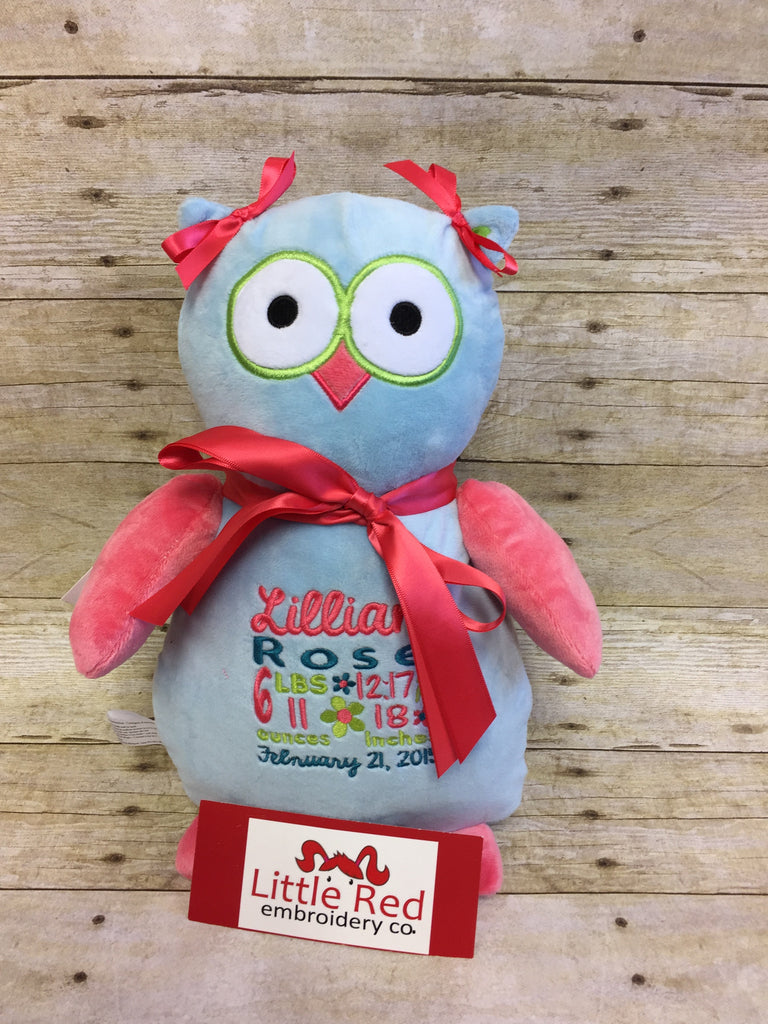 Cubbies™ Light Blue/Coral Pink Owl Stuffie with Custom Embroidery