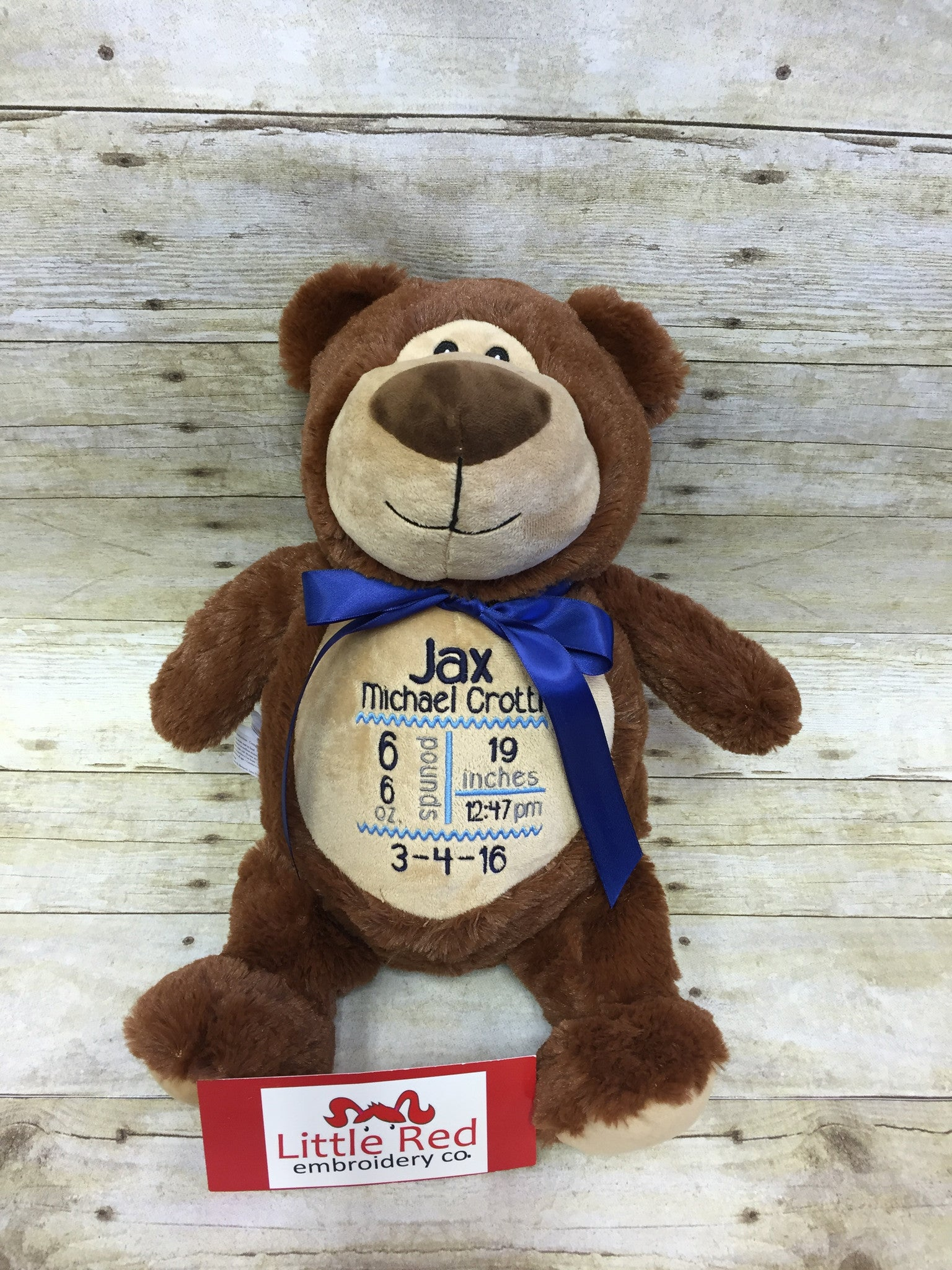 Cubbies™ Jumbo Brown Bear Stuffie With Custom Embroidery