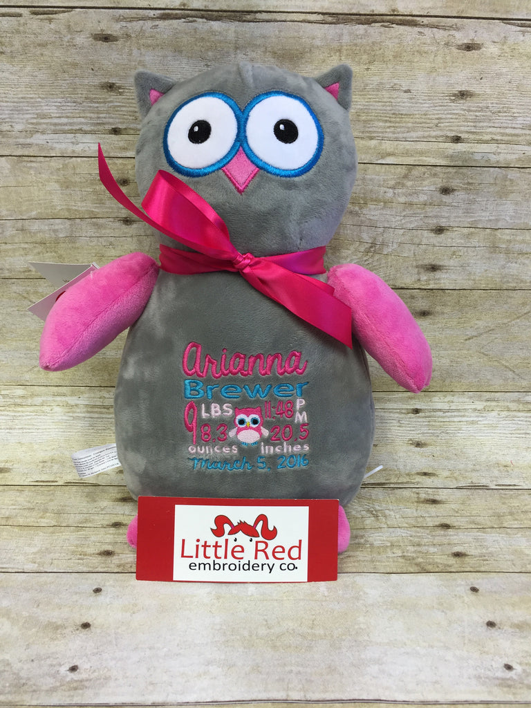Cubbies™ Grey/Pink Owl Stuffie with Custom Embroidery