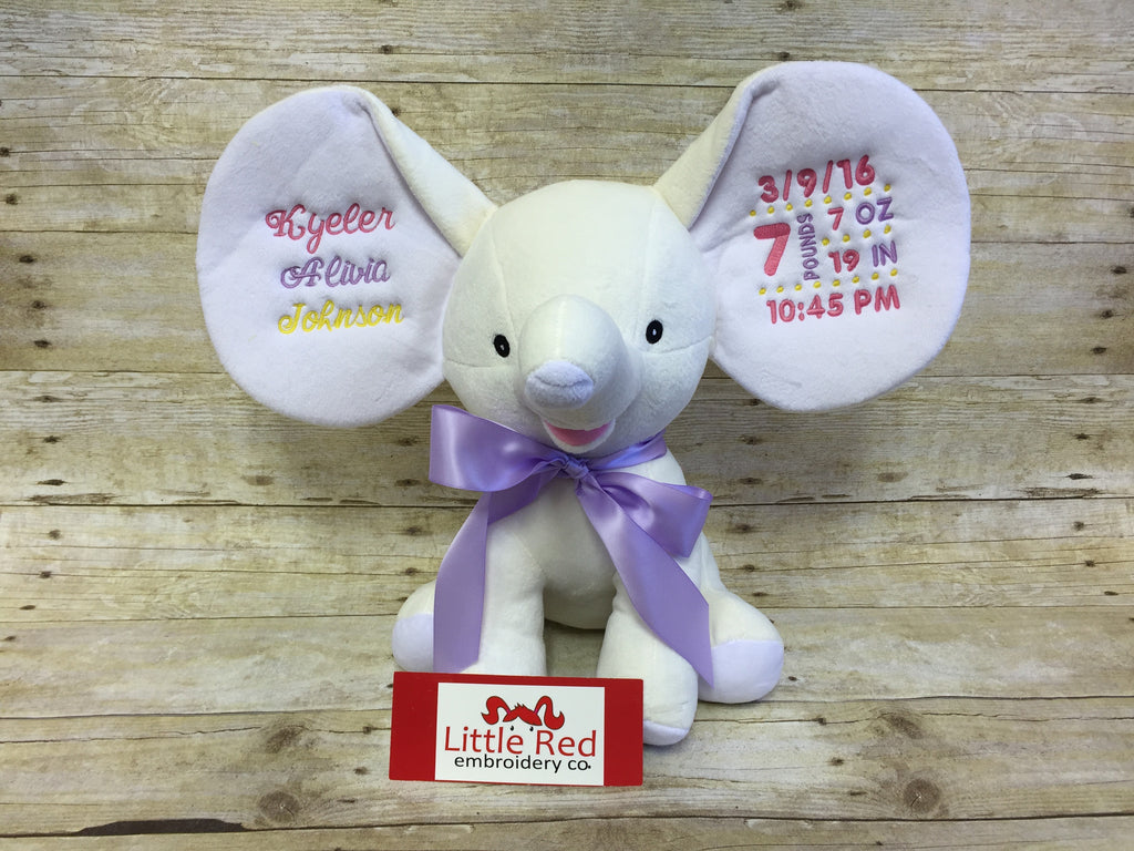 Cubbies™ White Dumble Elephant with Custom Embroidery