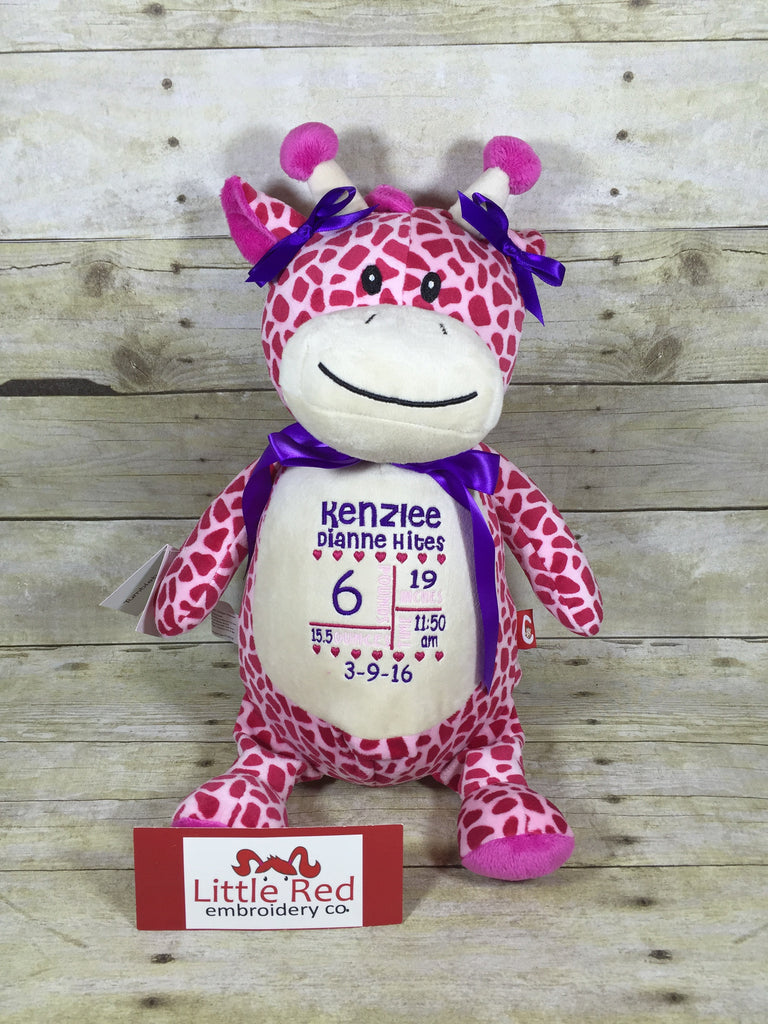 Cubbies™ Pink Giraffe Stuffie with Custom Embroidery