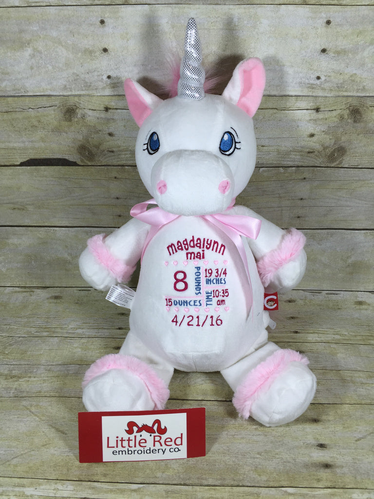 Cubbies™ White Unicorn Stuffie with Custom Embroidery