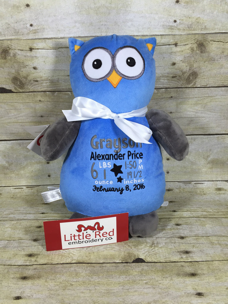 Cubbies™ Blue/Grey Owl Stuffie with Custom Embroidery