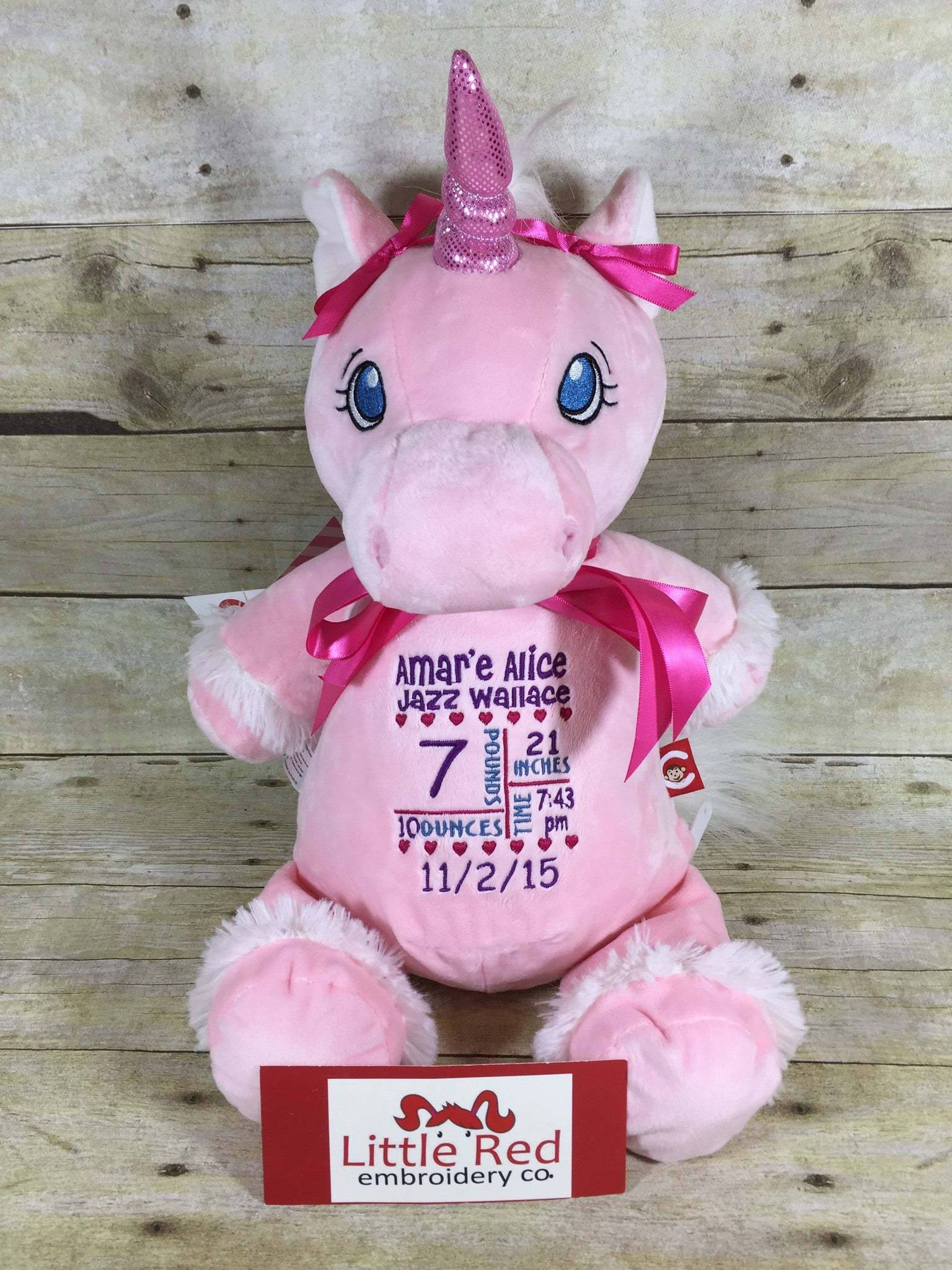 Cubbies™ Pink Unicorn Stuffie with Custom Embroidery