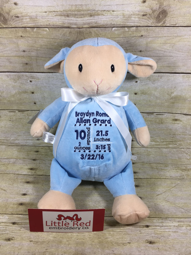 Cubbies™ Blue Lamb Stuffie with Custom Embroidery