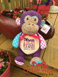 Cubbies™ Harlequin Purple Monkey Stuffie with Custom Embroidery