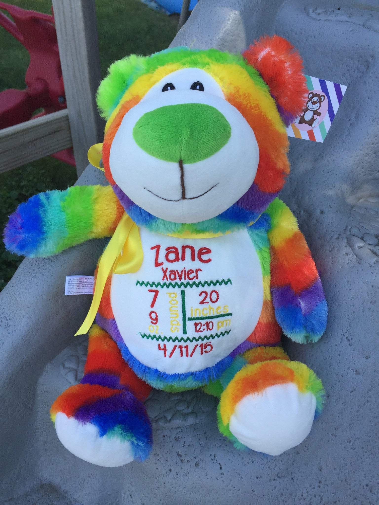 Cubbies™ Rainbow Bear Stuffie with Custom Embroidery | Little Red ...
