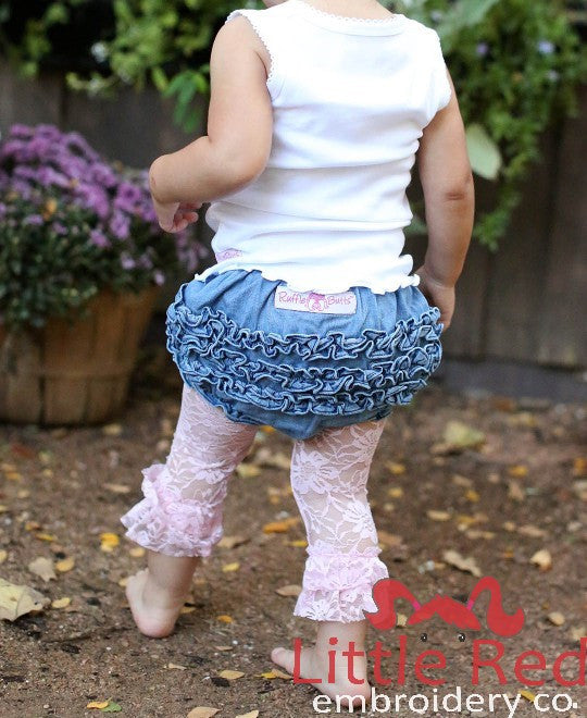Ruffle Butts Light Wash Denim Rufflebutt Bloomer