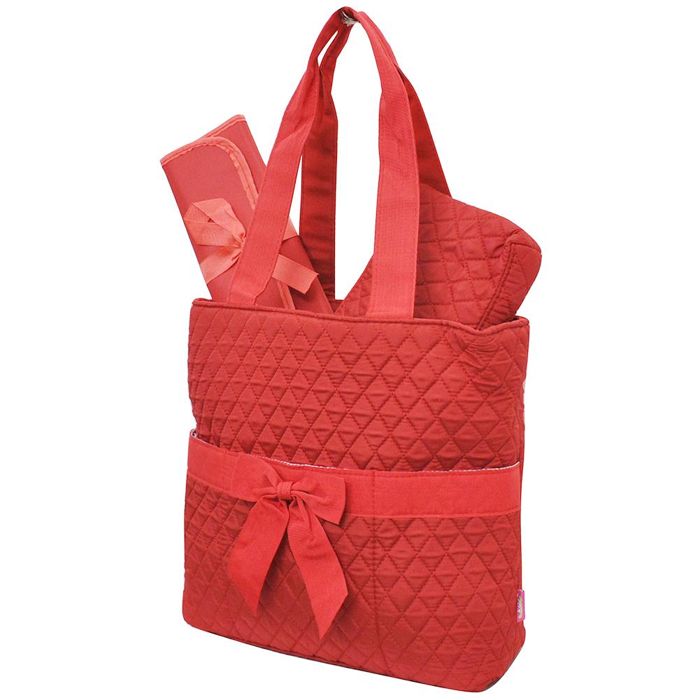 Red Quilted Diaper Bag
