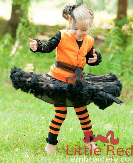 RuffleButts Orange & Black Striped Footless Ruffle Tights