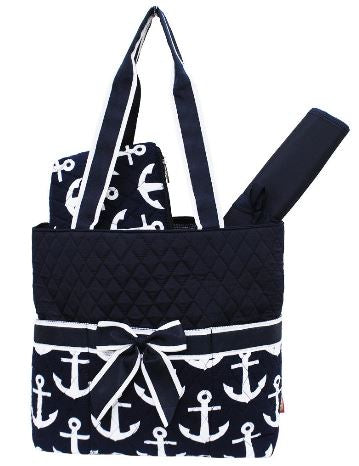 Navy/Anchor Print Quilted Diaper Bag