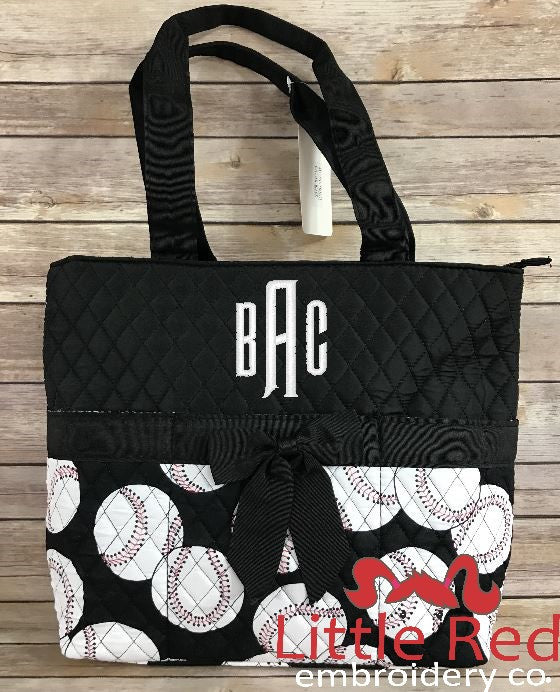Baseball Black Quilted Diaper Bag