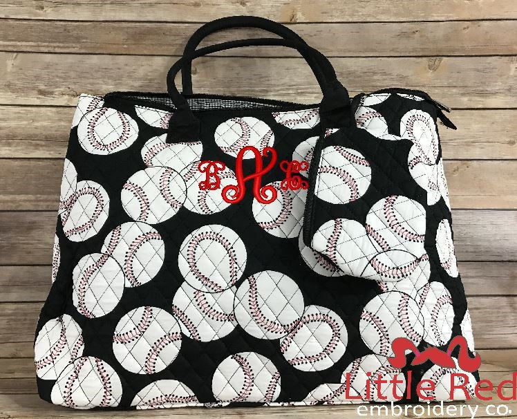 Baseball Quilted Large Shoulder Tote Bag