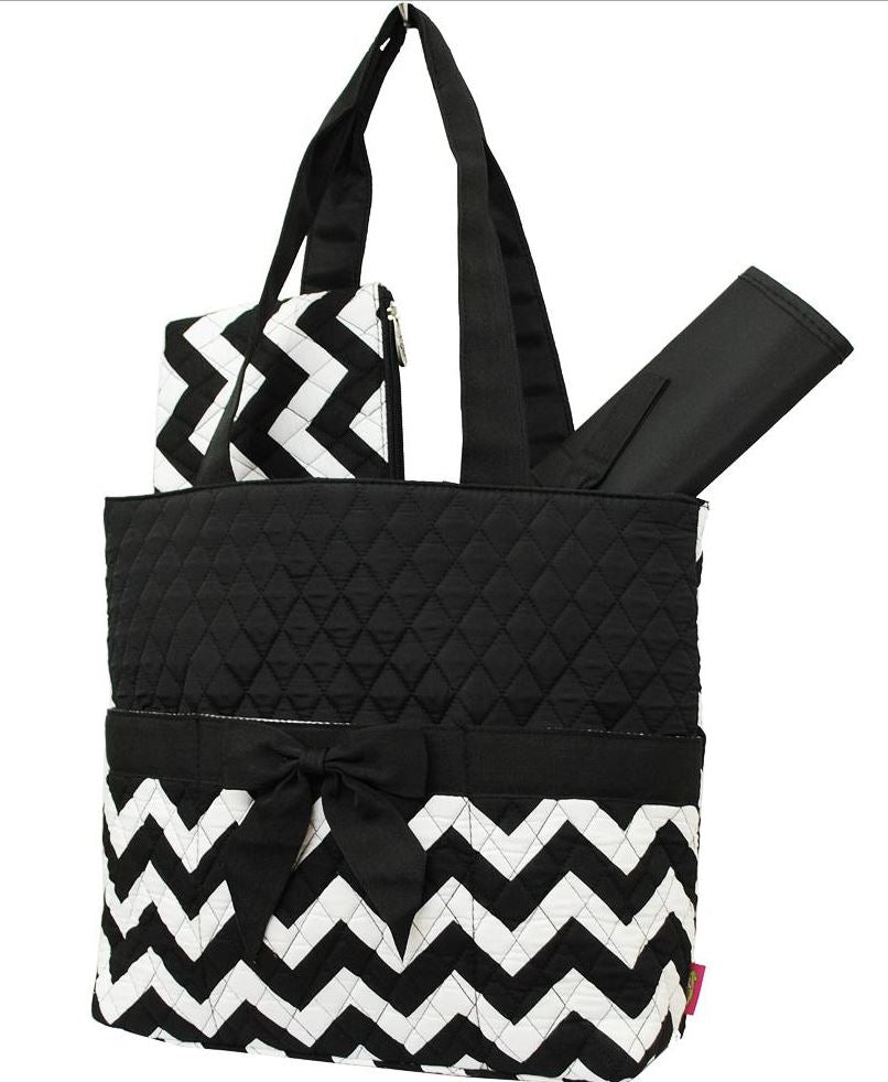 Black/Black & White Chevron Quilted Diaper Bag