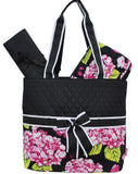 Black & Pink Hydrangea Diaper Bag
