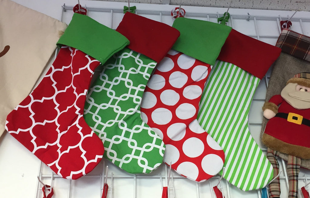 Canvas Christmas Stockings - your choice of pattern, custom embroidered with name at top!