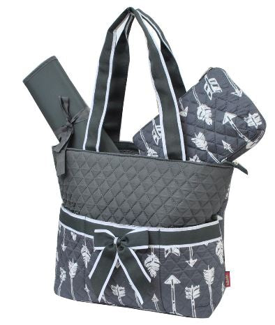 Arrows Grey & White Quilted Diaper Bag