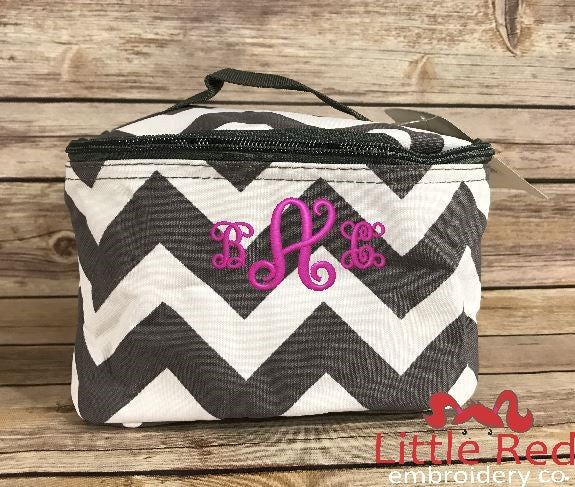 Grey & White Chevron Cosmetic Bag