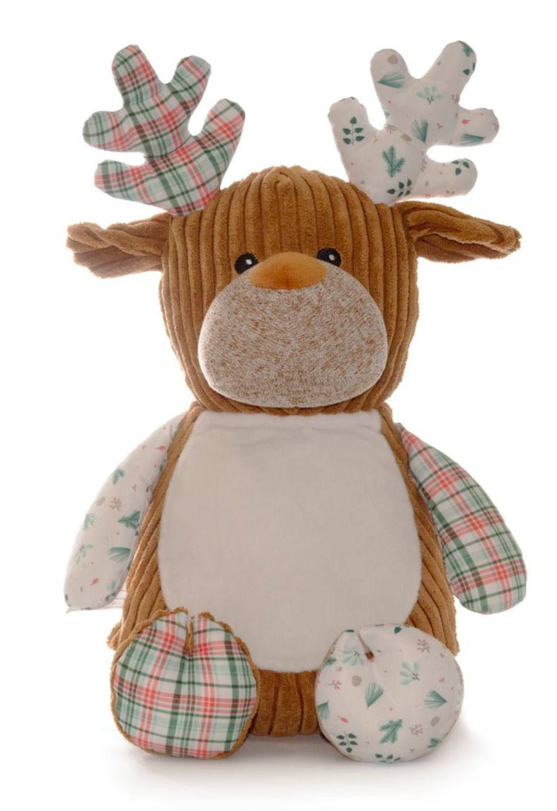 Cubbies™ Harlequin White/Plaid Deer Stuffie with Custom Embroidery