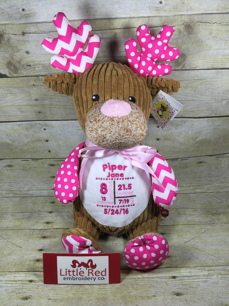 Cubbies™ Harlequin Pink Deer Stuffie with Custom Embroidery