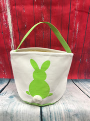 Canvas Green Bunny Bottom Easter Bucket - custom embroidered!